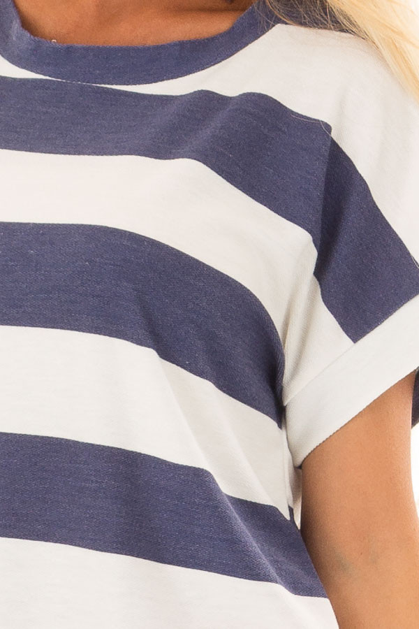 Navy and White Striped Short Sleeve Tee detail