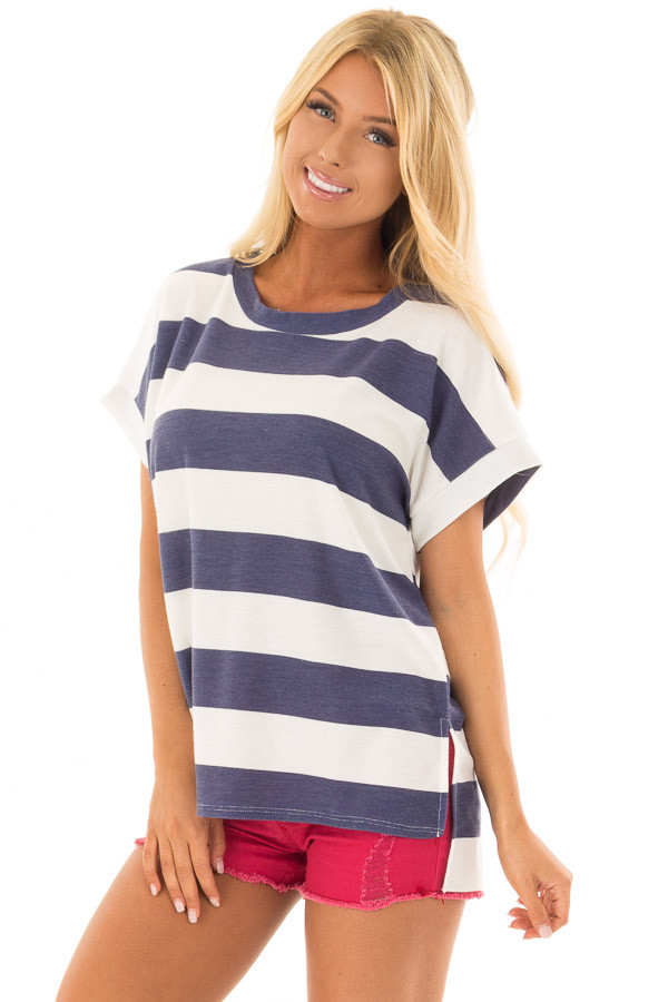 Navy and White Striped Short Sleeve Tee front close up
