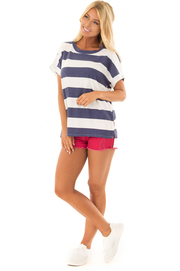 Navy and White Striped Short Sleeve Tee front full body