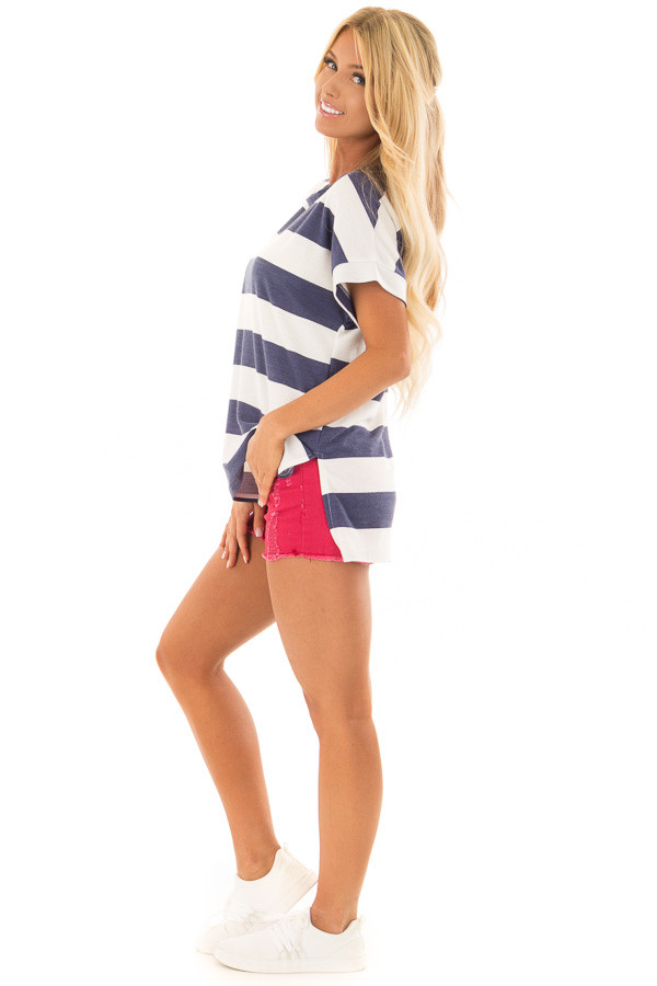 Navy and White Striped Short Sleeve Tee side full body