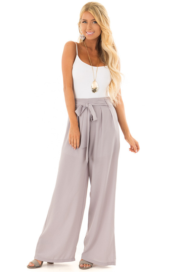Heather Grey Woven Pants with Waist Tie front full body