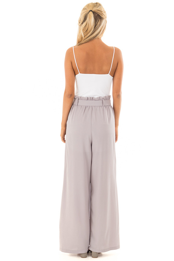 Heather Grey Woven Pants with Waist Tie back full body