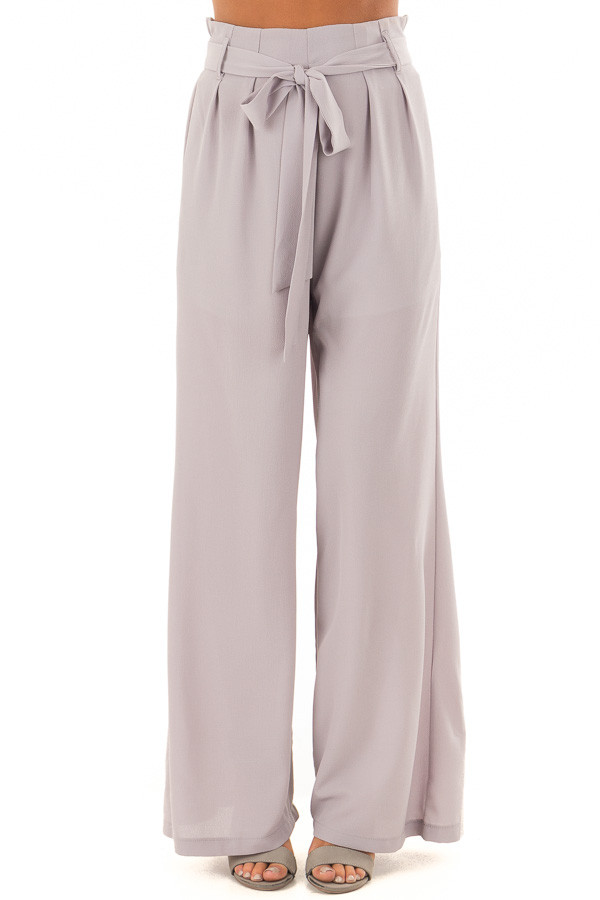 Heather Grey Woven Pants with Waist Tie front view