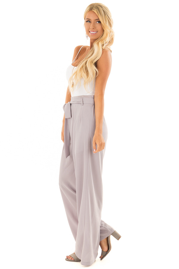 Heather Grey Woven Pants with Waist Tie side full body