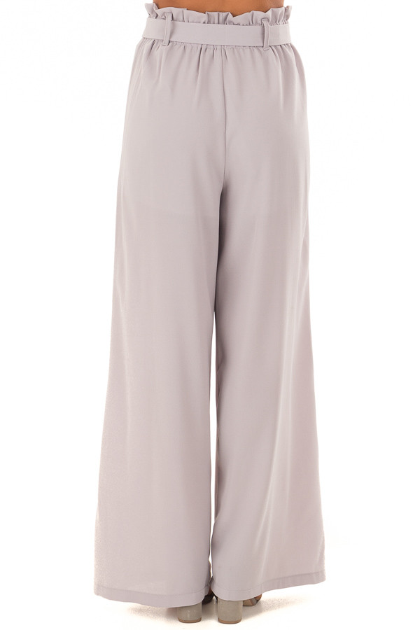 Heather Grey Woven Pants with Waist Tie back view