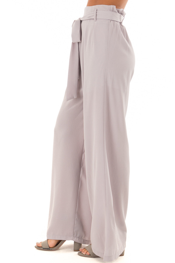 Heather Grey Woven Pants with Waist Tie side view