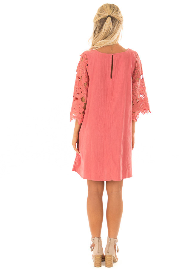 Rust Dress with Sheer Lace Sleeves back full body