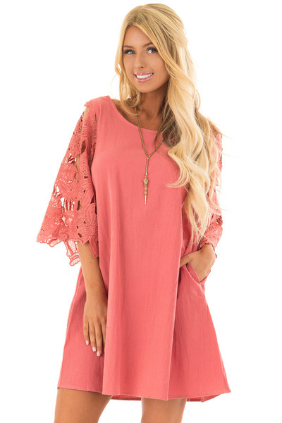 Rust Dress with Sheer Lace Sleeves front close up