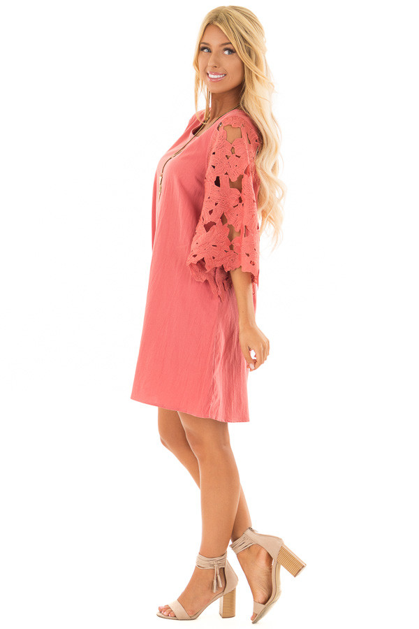 Rust Dress with Sheer Lace Sleeves side full body