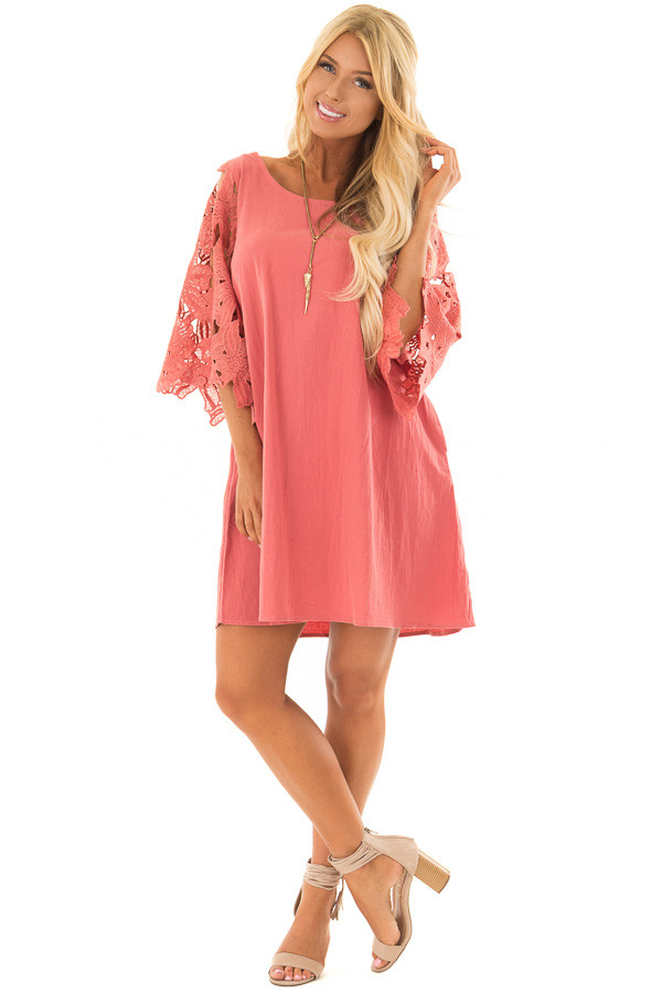Rust Dress with Sheer Lace Sleeves front full body