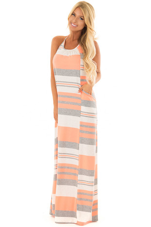 Neon Coral Striped Maxi Dress with T Strap Detail in Back front full body