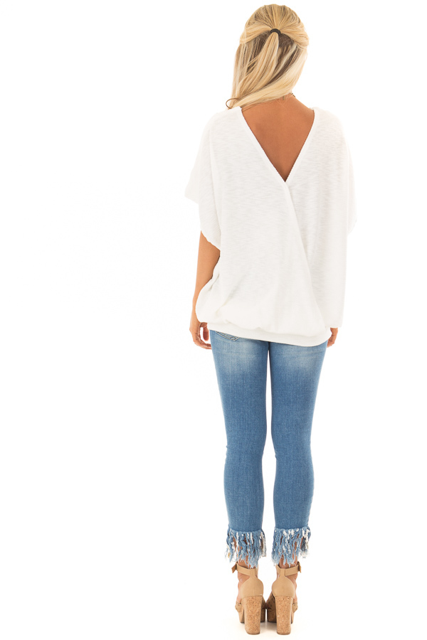 Off White Oversized Textured Top with Back Wrap V Cut Detail back full body
