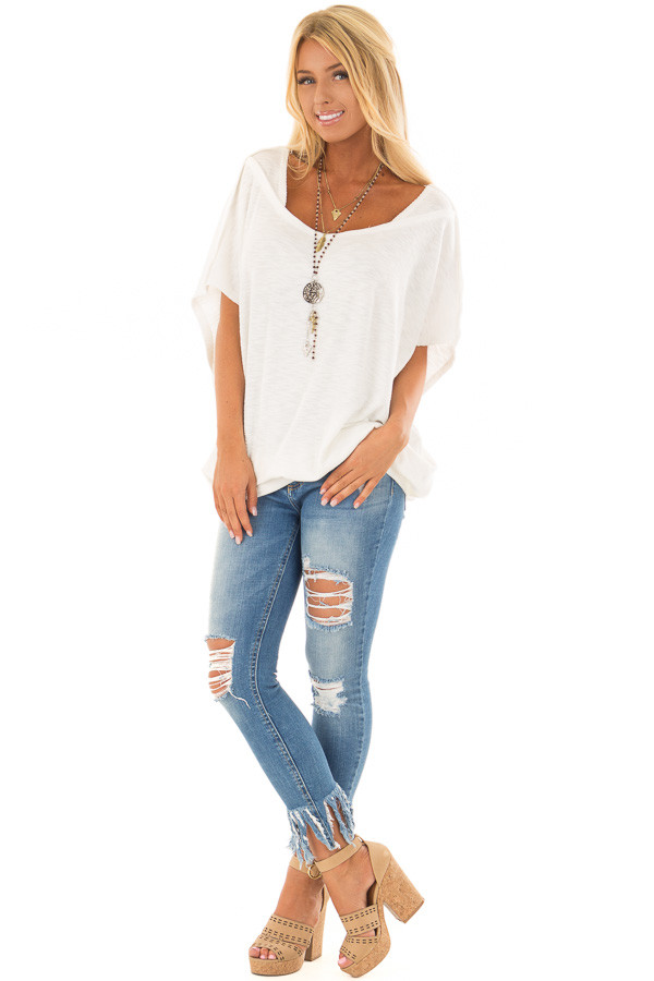 Off White Oversized Textured Top with Back Wrap V Cut Detail front full body