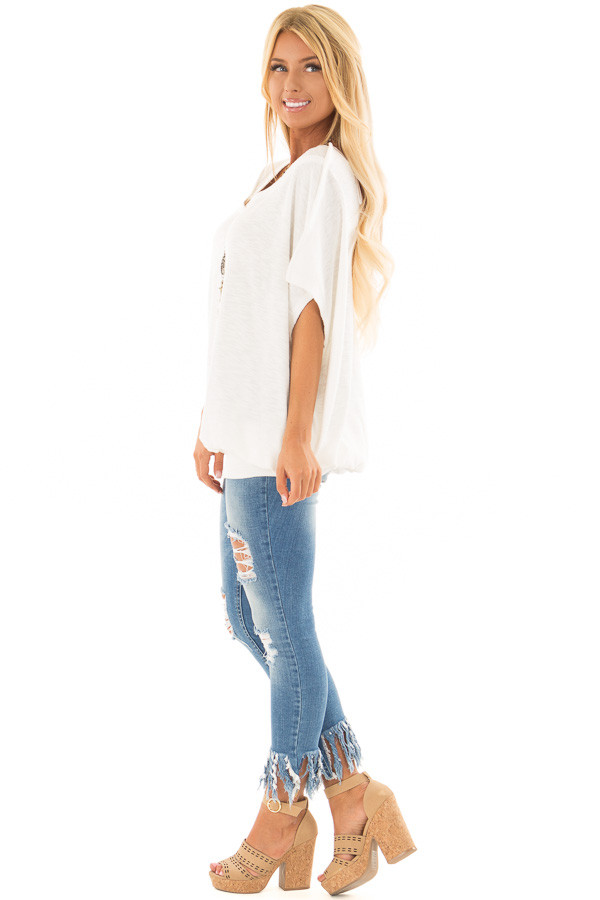 Off White Oversized Textured Top with Back Wrap V Cut Detail side full body