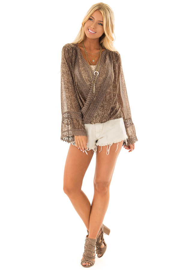 Espresso Snake Skin Print Surplice Top with Crochet Detail front full body