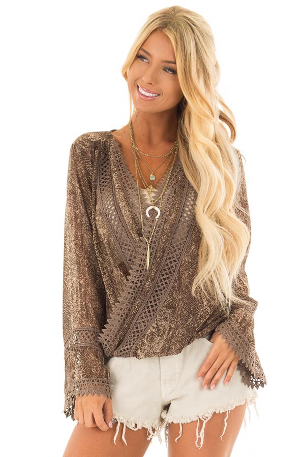 Espresso Snake Skin Print Surplice Top with Crochet Detail front close up