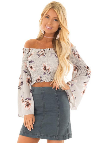 Grey Floral and Striped Off the Shoulder Smocked Crop Top front close up