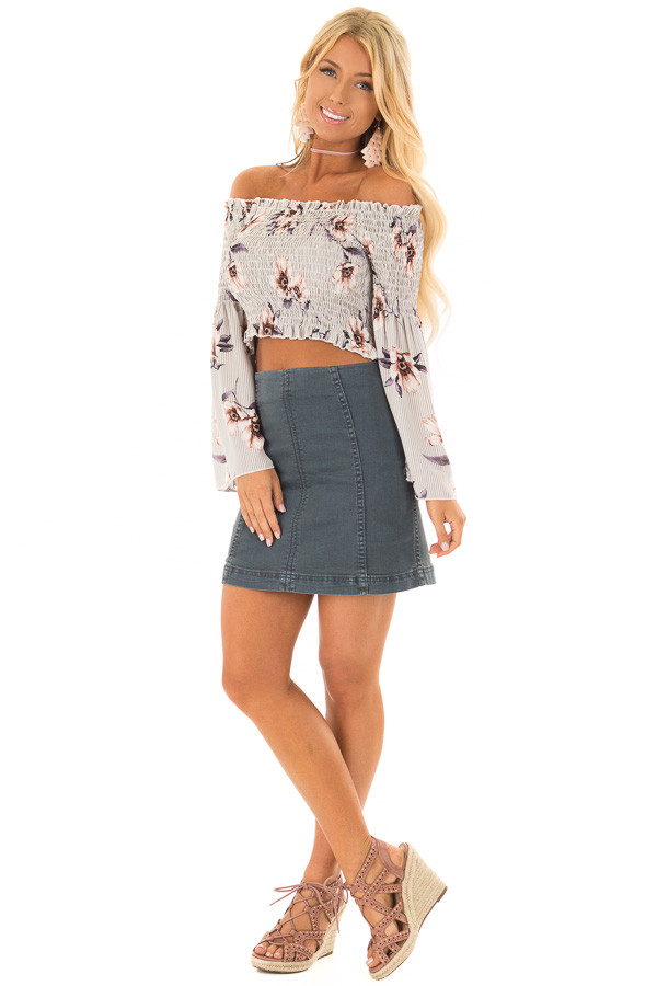 Grey Floral and Striped Off the Shoulder Smocked Crop Top front full body