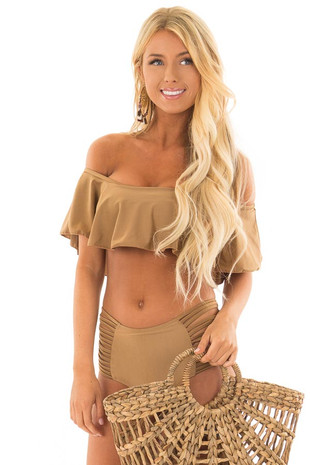 Mocha Ruffle Top Bikini with Strappy Bottoms front close up