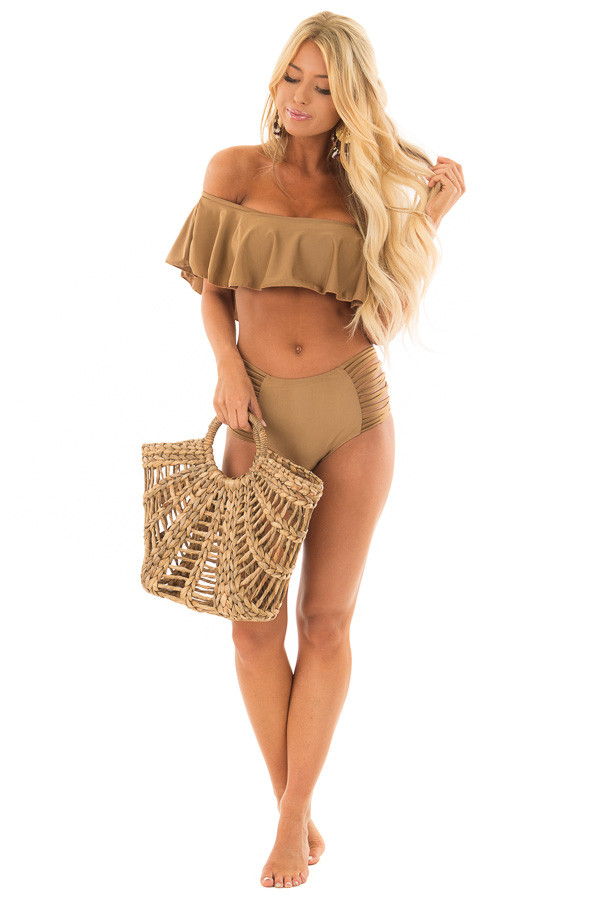 Mocha Ruffle Top Bikini with Strappy Bottoms front full body