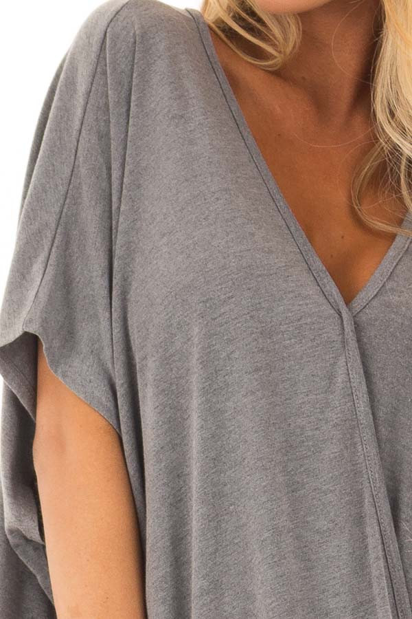 Charcoal Oversized Surplice Top with Rounded Hemline detail