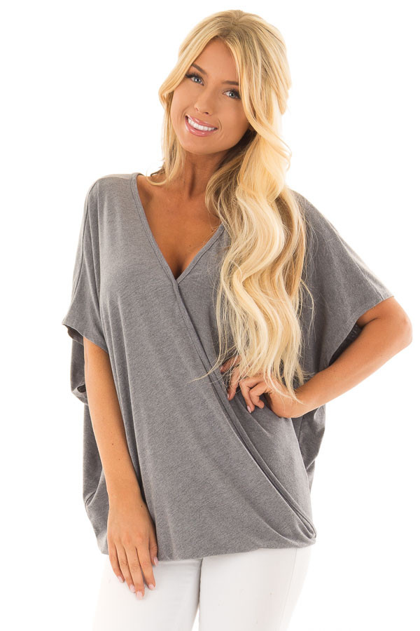 Charcoal Oversized Surplice Top with Rounded Hemline front close up