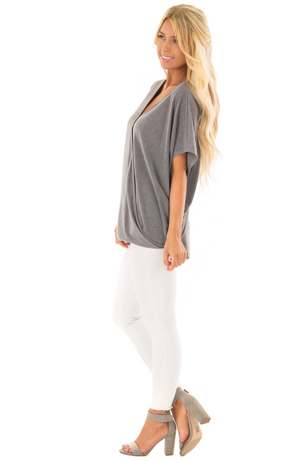 Charcoal Oversized Surplice Top with Rounded Hemline side full body