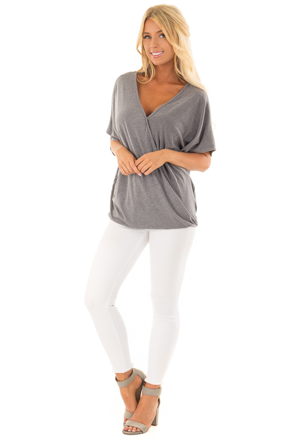 Charcoal Oversized Surplice Top with Rounded Hemline front full body