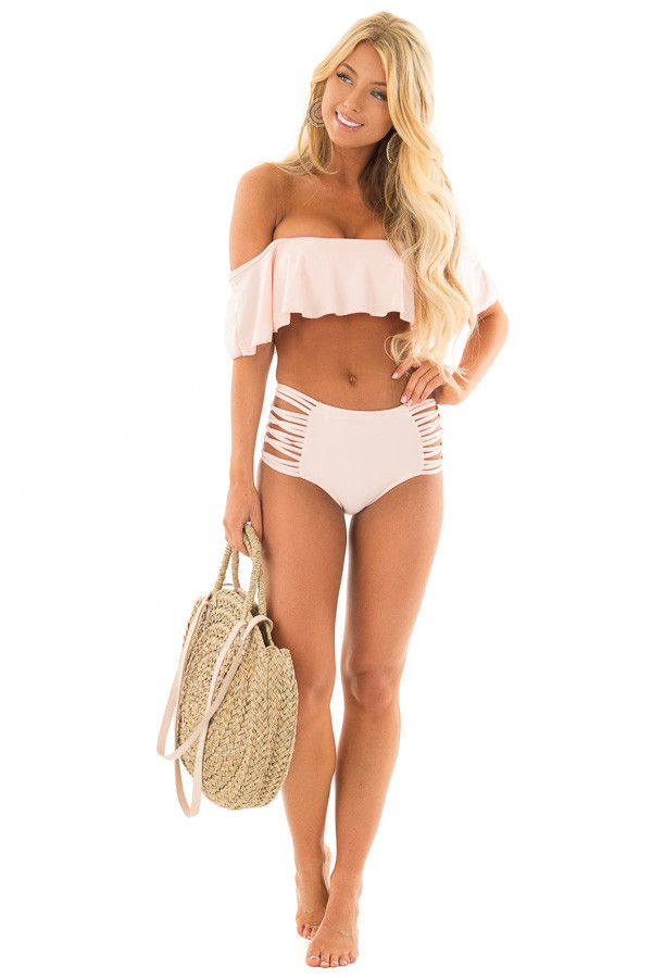 Blush Ruffle Top Bikini with Strappy Bottoms front full body