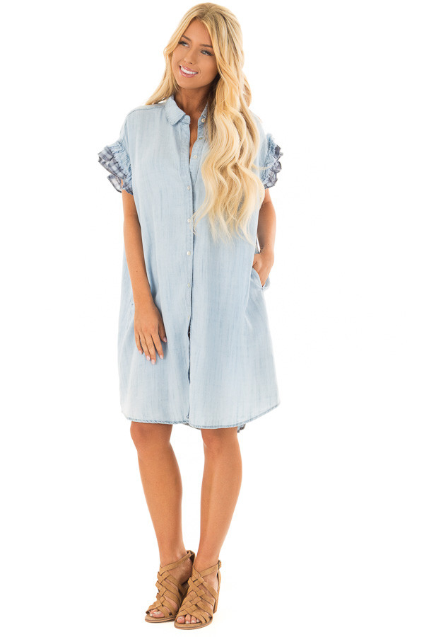 Light Denim Button Down Dress with Plaid Sleeve Detail front full body
