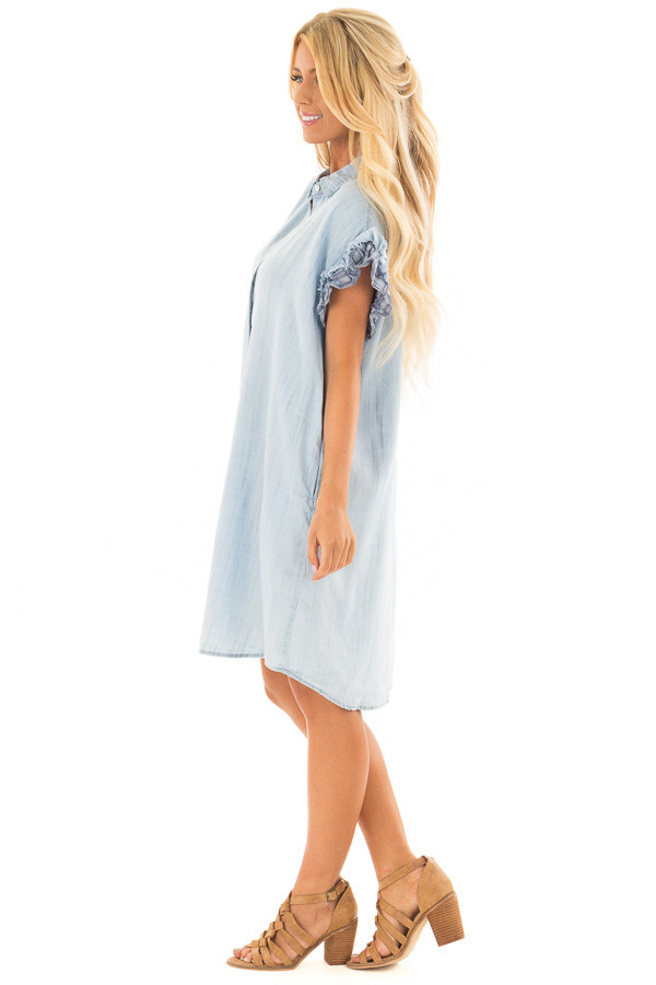 Light Denim Button Down Dress with Plaid Sleeve Detail side full body
