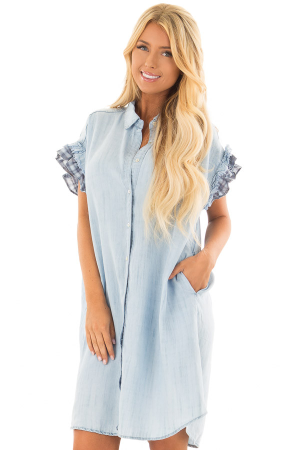 Light Denim Button Down Dress with Plaid Sleeve Detail front close up