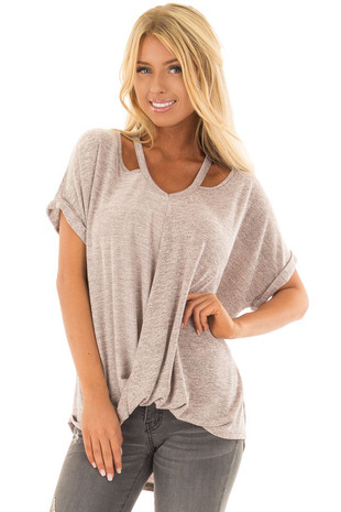 Blush Two Tone Short Sleeve Top with Neck Cut Out front close up