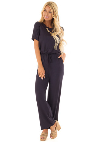 Navy Jumpsuit with Gathered Waist and Short Cuffed Sleeves front full body