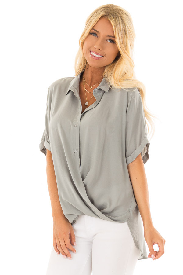 Sage Button Up Short Sleeve Blouse with Twisted Hem front close up