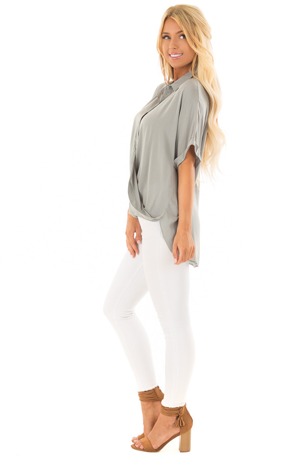 Sage Button Up Short Sleeve Blouse with Twisted Hem side full body