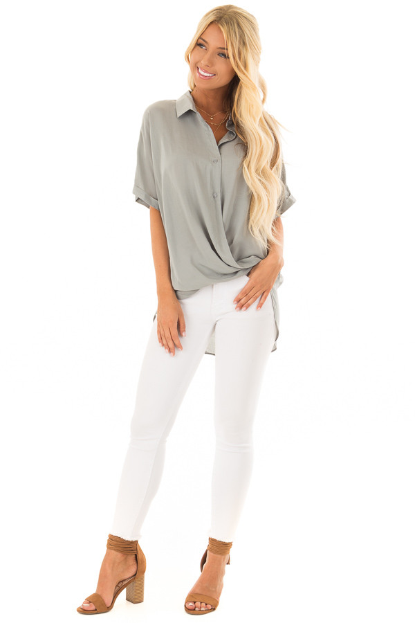 Sage Button Up Short Sleeve Blouse with Twisted Hem front full body