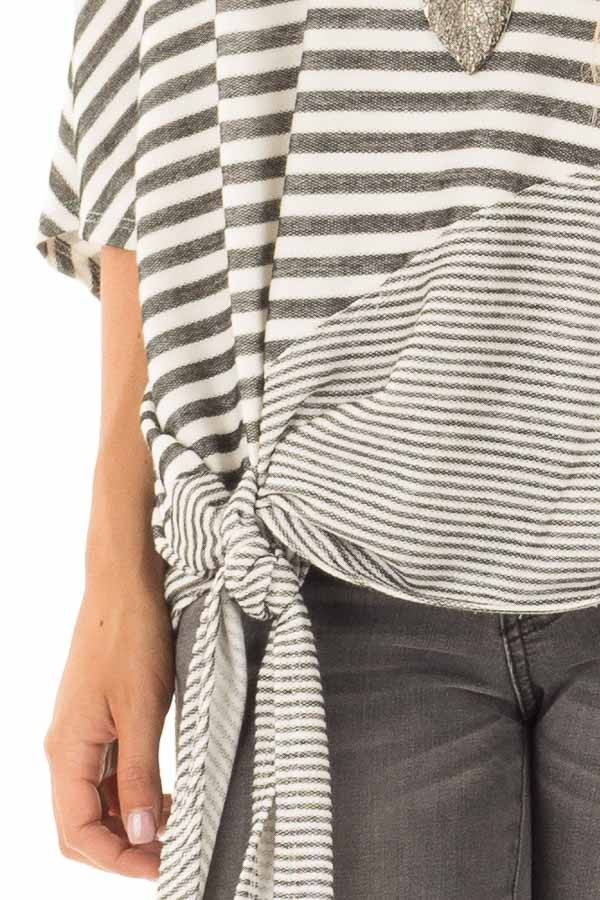 Faded Black and White Striped Off Shoulder Top detail