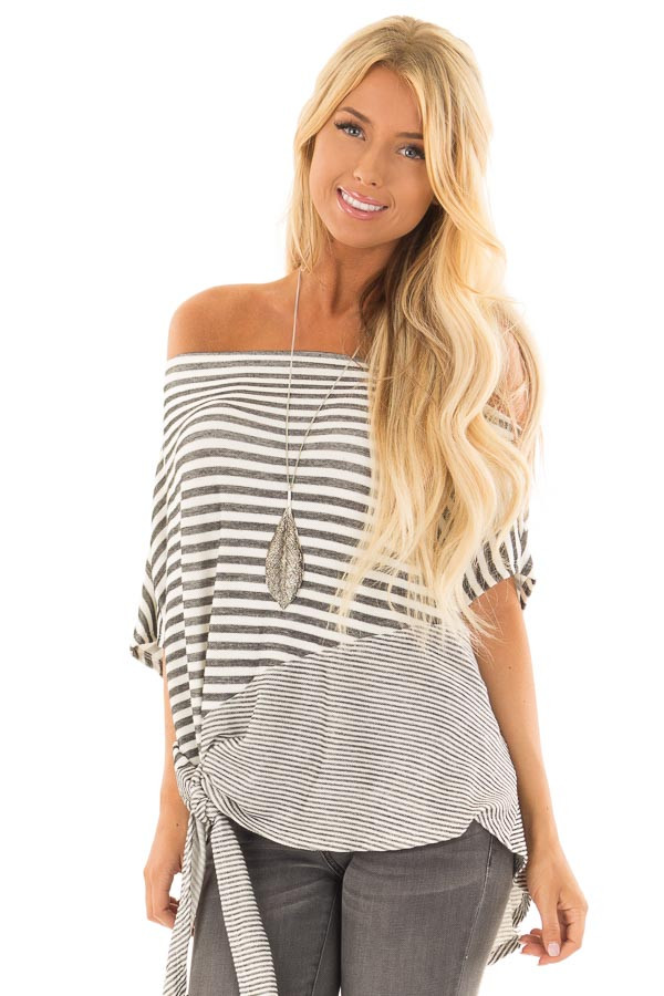 Faded Black and White Striped Off Shoulder Top front close up