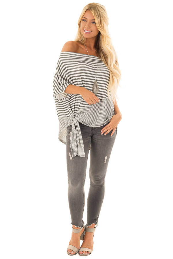 Faded Black and White Striped Off Shoulder Top front full body
