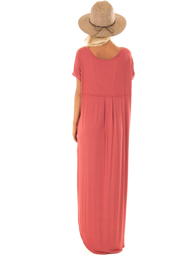 Rust Maxi Dress with Side Pockets back full body