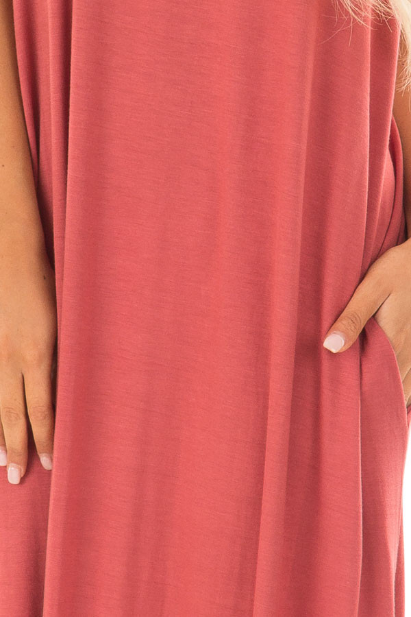 Rust Maxi Dress with Side Pockets detail