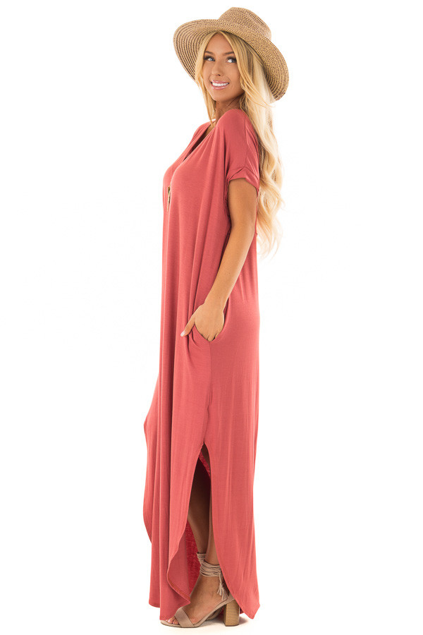 Rust Maxi Dress with Side Pockets side full body