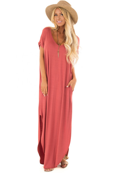Rust Maxi Dress with Side Pockets front full body