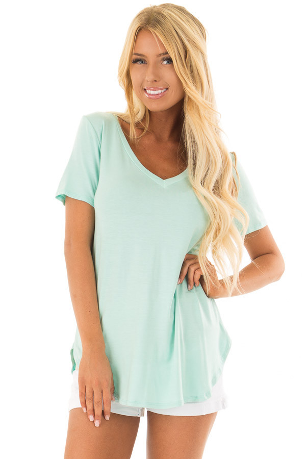 Mint V Neck Top with Side Slits front close up