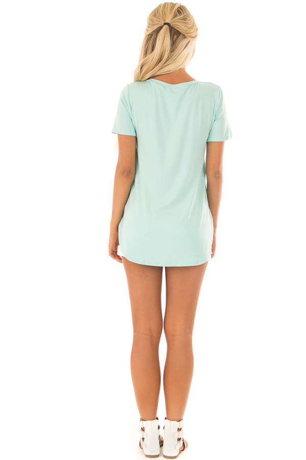 Mint V Neck Top with Side Slits back full body