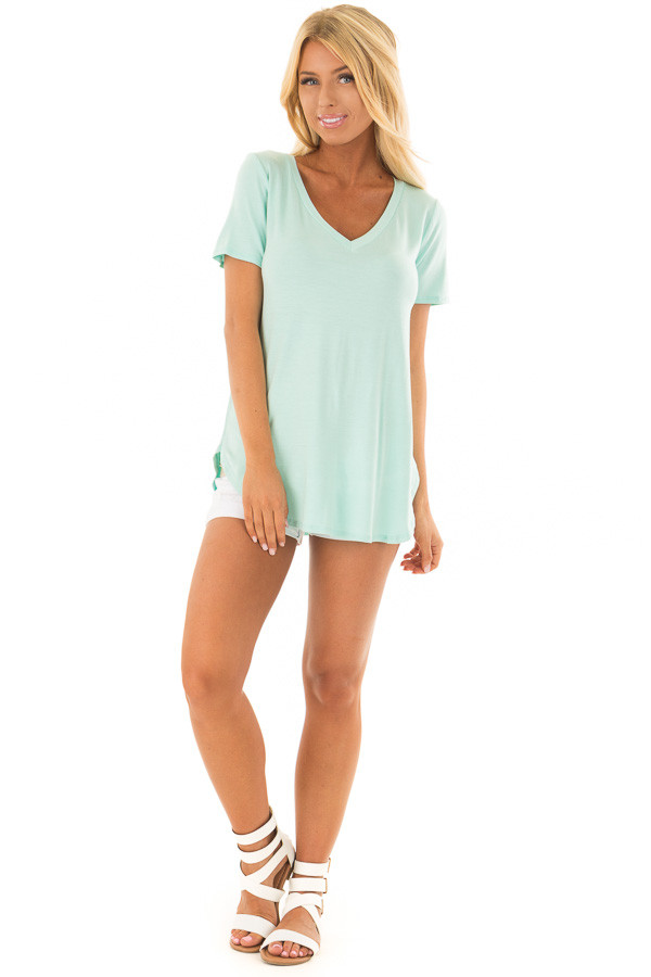 Mint V Neck Top with Side Slits front full body