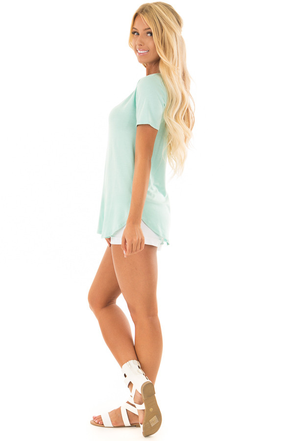 Mint V Neck Top with Side Slits side full body