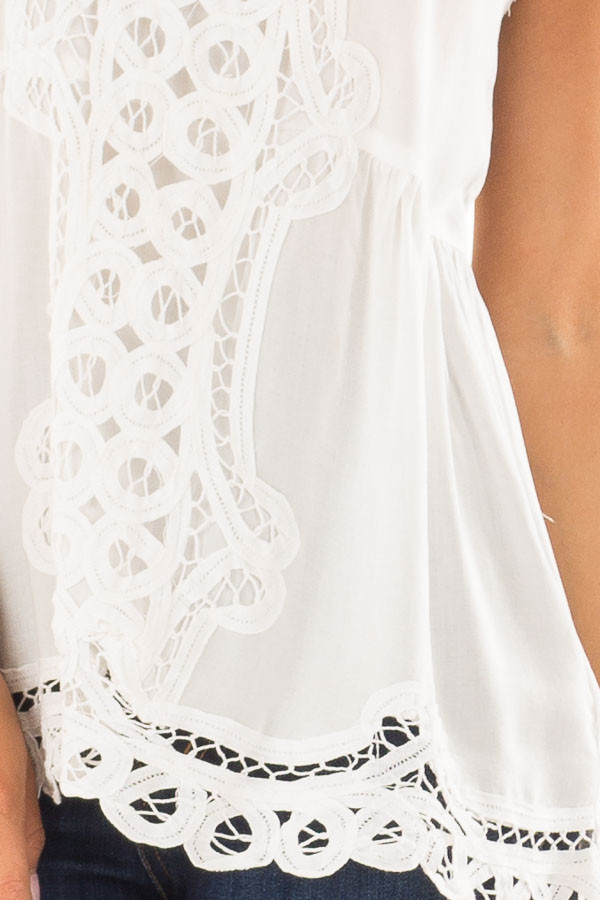 Off White Tank Top with Crochet Front and Scalloped Hem detail