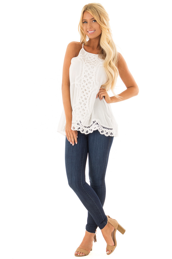 Off White Tank Top with Crochet Front and Scalloped Hem front full body